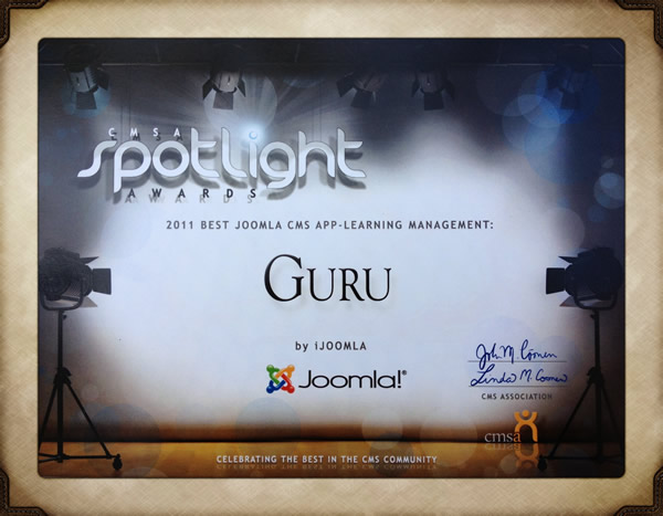 Guru wins best LMS for Joomla!
