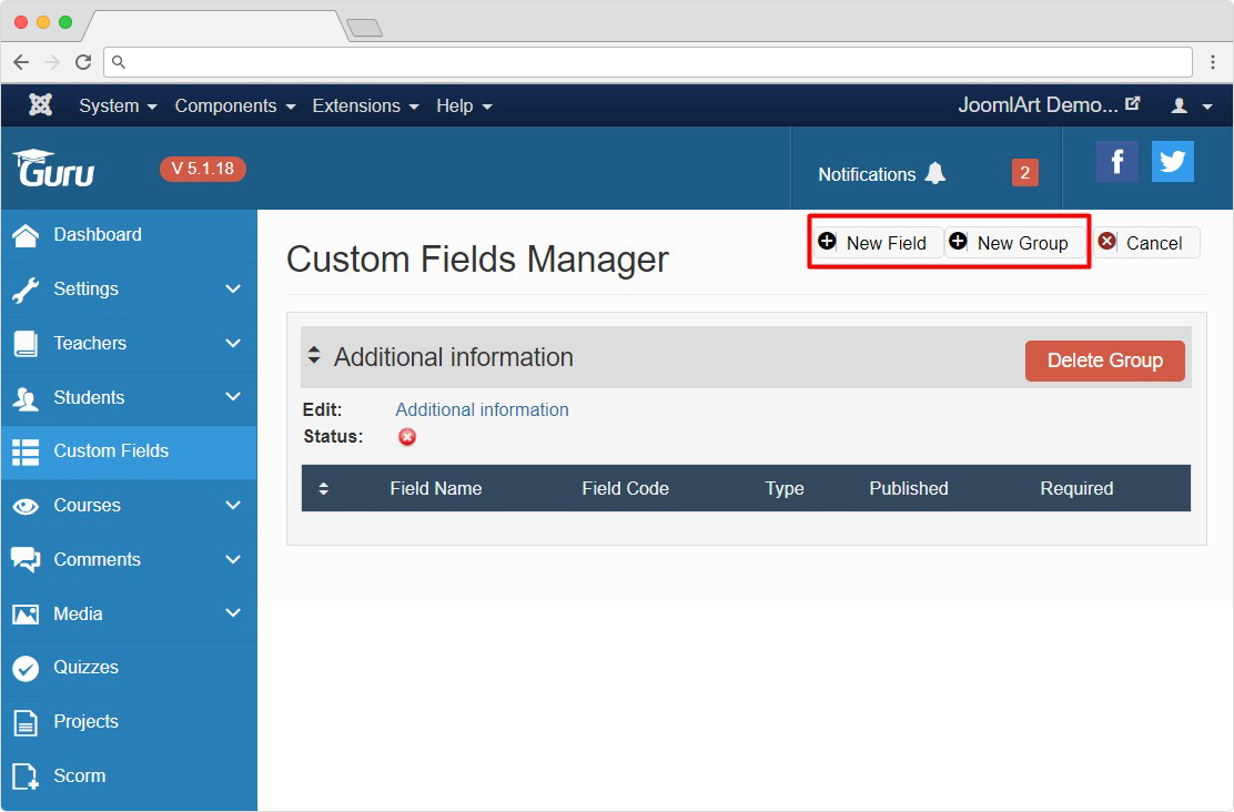 Guru LMS Joomla extension custom fields feature