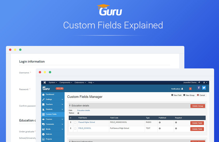 Joomla LMS Extension Guru custom fields