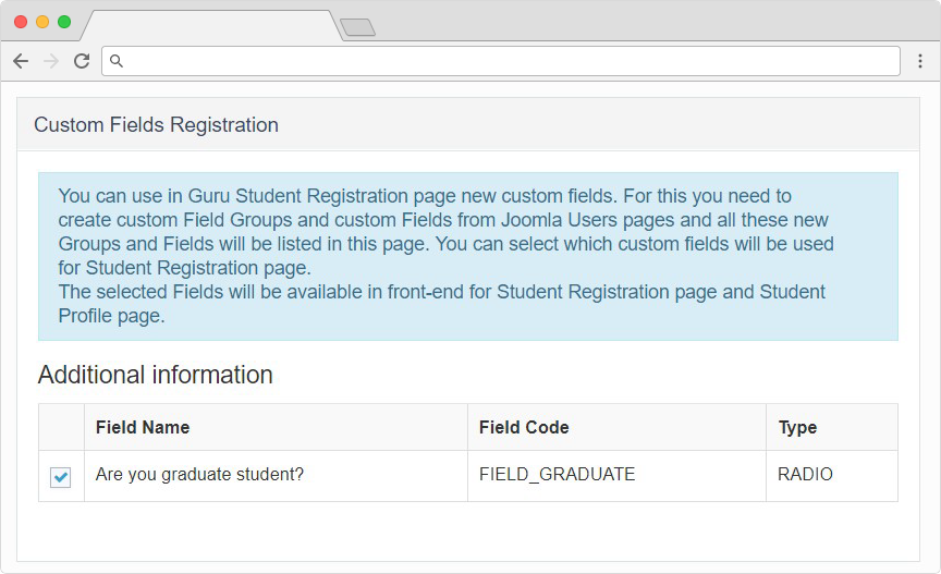 guru lms joomla extension registration custom fields