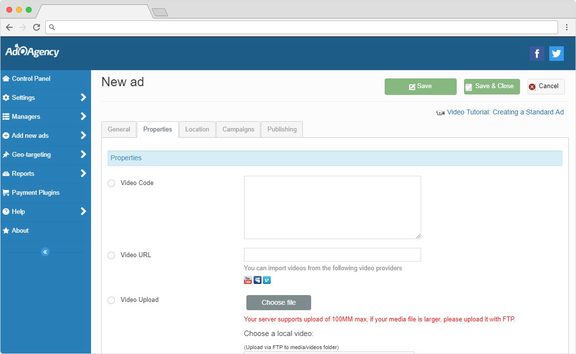 ad agency video ads for joomla