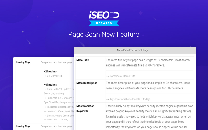 seo joomla extension updated for page scan and more