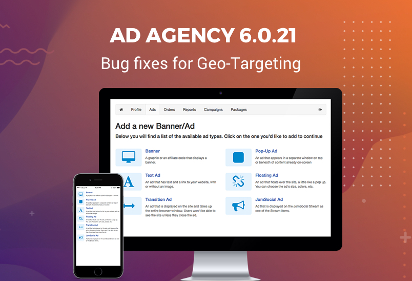 Ad Agency 6.0.21 updated for bug fixes of Geo-Targeting