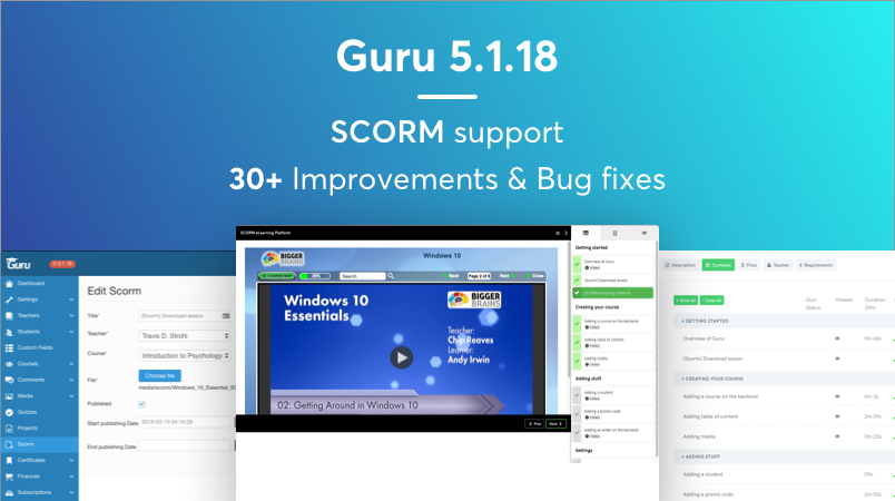 Scorm support in Guru LMS for Joomla