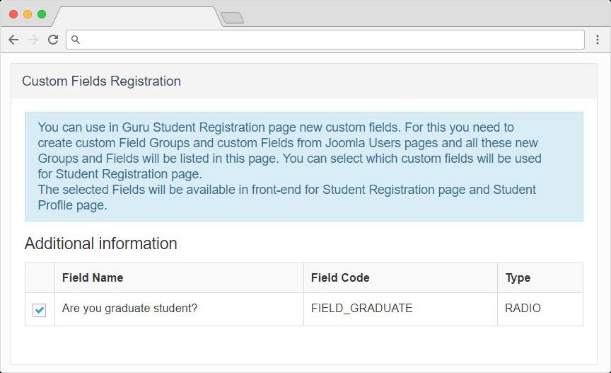 guru lms joomla extension registration custom fields