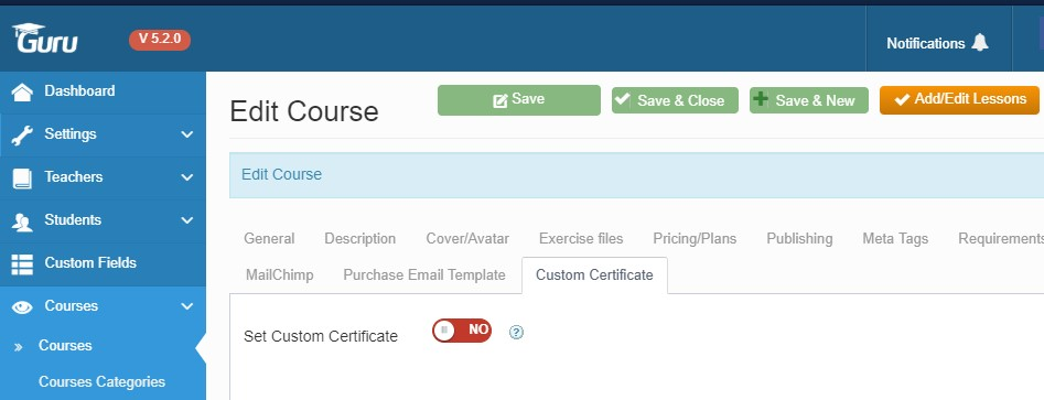custom certificate option in Guru LMS extension Joomla