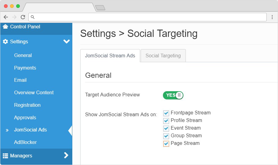 jomsocial pages ads