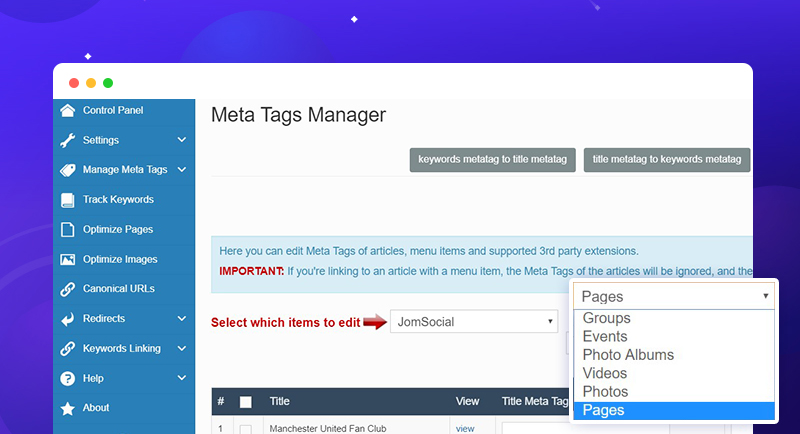 iseo joomla extension support jomsocial page support
